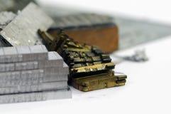 Linotype lead slugs and matrices closeup Royalty Free Stock Photo