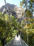 Linowy most nad doliną Zdjęcia Royalty Free