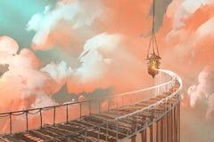 Linowy most prowadzi wiszący lampion w chmury ilustracja wektor