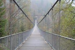 Linowy most w mglistych górach Obrazy Royalty Free