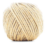 Linowy skein, jutowa rolka, naturalna piłka odizolowywająca na białym tle Obraz Stock