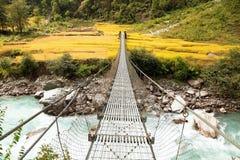 Linowy wiszący zawieszenie most w Nepal obraz royalty free