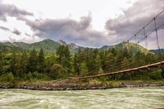 Linowy zawieszenie most zdjęcia stock