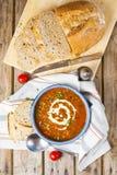 Lins- och tomatsoppa Fotografering för Bildbyråer