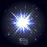 Linsblått för ljus effekt rundar explosion på genomskinligt rutigt Royaltyfri Foto