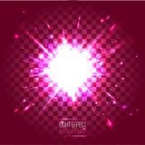 Linsblått för ljus effekt rundar explosion på genomskinligt rutigt Royaltyfria Bilder