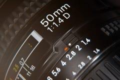 Linse 50 Millimeter-Markierungsmakrofoto Stockfoto