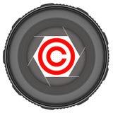 Linse mit Copyrightsymbol Stockfotos