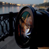 Linse; Reflexion; Fluss; Moskau; Laternen; Lichter; Nacht; Straße Lizenzfreies Stockbild