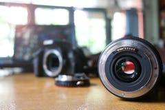 Linse und Adapter für verwendet mit Kamera Stockfotografie