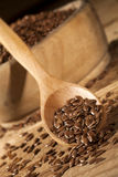 linseed Łyżka i puchar linseeds na drewnianym tle Zdjęcia Royalty Free