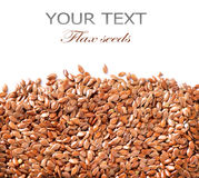 Linseed border. Isolated on White Background. Flax seeds stock photo