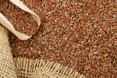 Linseed, flax seeds and wooden scoop Royalty Free Stock Photo