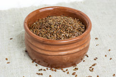 Bowl of linseeds royalty free stock photos