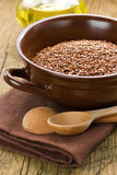 Linseed oil and flax seeds Royalty Free Stock Images