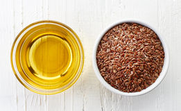 Linseed oil and linseeds Royalty Free Stock Photo