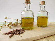 Linseed oil in small bottles Royalty Free Stock Images