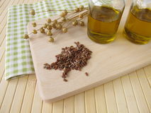 Linseed oil in small bottles Stock Image