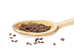 Linseed on a wooden spoon Royalty Free Stock Photography