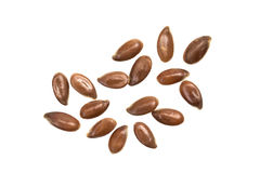 Linseeds on white background Royalty Free Stock Photo