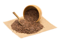 Linseeds in a wooden bowl Royalty Free Stock Photos