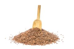 Linseeds with wooden spoon Stock Image