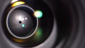 Linsen av kameran Närbild lager videofilmer