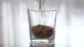 Linsen häller in i ett genomskinligt tomt exponeringsglas Hällande gryn in i ett klart exponeringsglas lager videofilmer