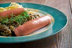 Linsen mit Spatzle  Swabian dish Stock Photos