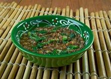Linsen-und Spinats-Suppe Stockbild