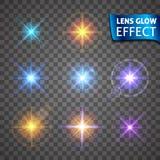 Linsenglüheneffekt Glühender heller greller Glanz, helle realistische Lichteffekte Stockfotografie