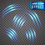 Linsenglüheneffekt Neon-Reihensatz des Katzenkratzers Heller glühender Neoneffekt Transparenter Hintergrund Abstraktes Glühen Lizenzfreie Stockfotos