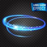 Linsenglüheneffekt Neon-Reihensatz des Katzenkratzers Heller glühender Neoneffekt Transparenter Hintergrund Abstraktes Glühen Stockfoto