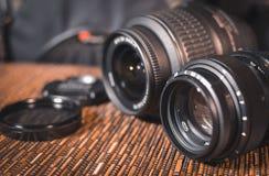 linser En uppsättning av fotografer Skyddande exponeringsglas Arkivfoto