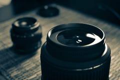 linser En uppsättning av fotografer Skyddande exponeringsglas Arkivfoton