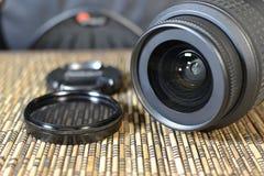 linser En uppsättning av fotografer Skyddande exponeringsglas Arkivbild