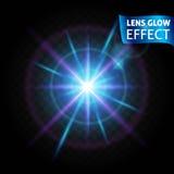 Linsglödeffekten Glödande ljusa reflexioner, realistiska ljusa effekter ljusa blått och rosa färger färgar linsen Använd designen royaltyfri illustrationer