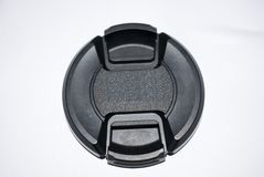 linslock som isoleras på vit bakgrundssvartfärg 18-55mm 52mm Arkivfoto