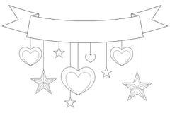 Lint, harten en sterren op zwart-witte affiche Stock Fotografie