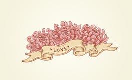 Lint met roze bloemen Royalty-vrije Stock Afbeeldingen
