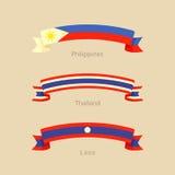 Lint met vlag van Filippijnen, Thailand en Laos Stock Afbeeldingen