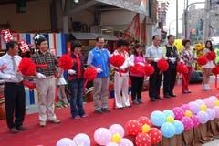Lint Scherpe Ceremonie bij Markt het Openen Stock Foto