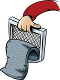 Lint Trap. A pad of cartoon lint pulled from the trap of a dryer Stock Image
