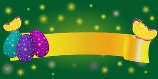 Lintbanner voor Pasen met eieren, vlinder Stock Foto's