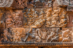 Lintel carving Ravana god Banteay Srei hindu Stock Photography
