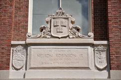 Lintel of Harvard University, Cambridge, USA Stock Images