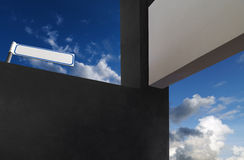 Lintels in the clouds. And signpost Stock Image