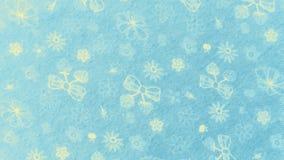 Linten en Bloemen op Blauwe Stof stock foto