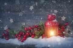 Linterna ardiente de la Navidad Imagen de archivo libre de regalías