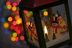 Linterna Bokeh de la Navidad Fotografía de archivo